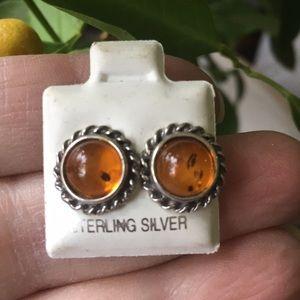 Amber set in sterling silver earrings